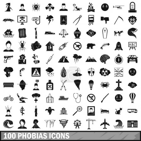 Illustration for 100 phobias icons set in simple style for any design vector illustration - Royalty Free Image