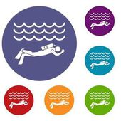 Scuba diver man in diving suit icons set in flat circle reb blue and green color for web