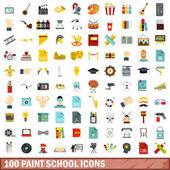 100 paint school icons set flat style