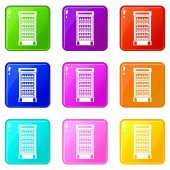 Fridge with refreshments drinks icons of 9 color set isolated vector illustration