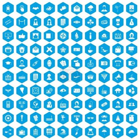 100 journalist icons set in blue hexagon isolated ...
