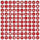 100 water supply icons hexagon red