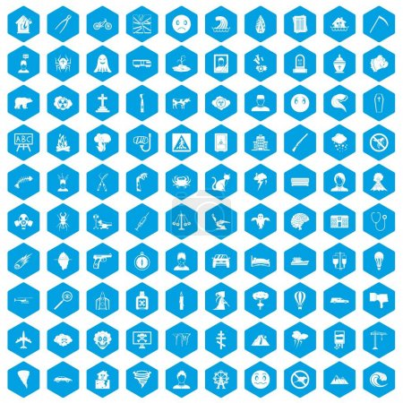 Illustration for 100 phobias icons set in blue hexagon isolated vector illustration - Royalty Free Image