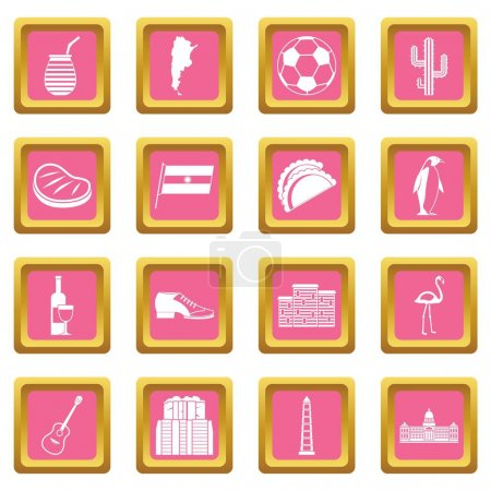 Illustration for Argentina travel items icons set in pink color isolated vector illustration for web and any design - Royalty Free Image