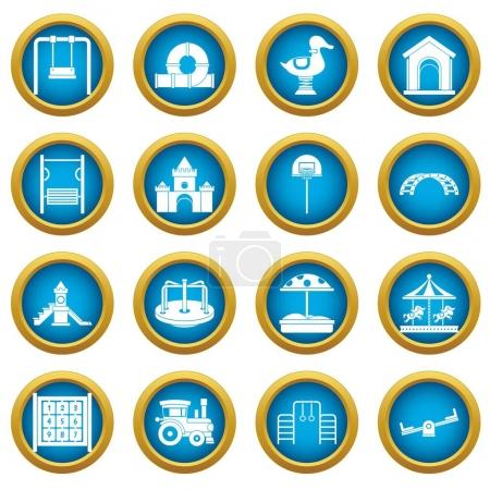 Playground icons blue circle set