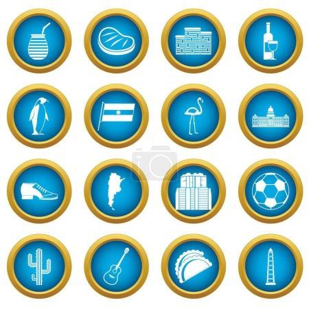 Illustration for Argentina travel items icons blue circle set isolated on white for digital marketing - Royalty Free Image