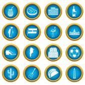 Argentina travel items icons blue circle set