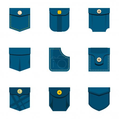 Blue pocket icon set, flat style