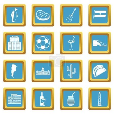 Illustration for Argentina travel items icons set in azur color isolated vector illustration for web and any design - Royalty Free Image