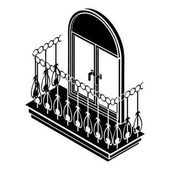 Metal balcony icon simple style
