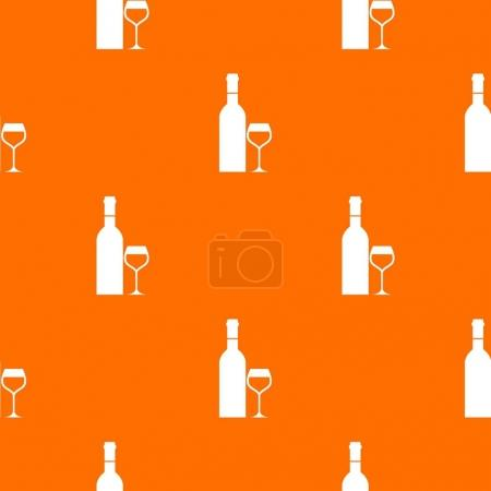 Glass and bottle of wine pattern seamless