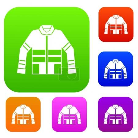 Illustration for Firefighter jacket set icon in different colors isolated vector illustration. Premium collection - Royalty Free Image