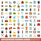 100 exercise journal icons set in flat style for any design vector illustration