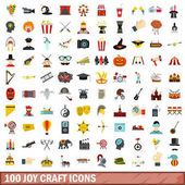100 joy craft icons set flat style
