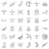 Airship icons set outline style