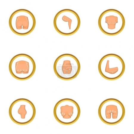 Plastic surgery icons set, cartoon style