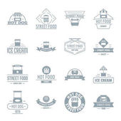 Street food logo icons set simple style