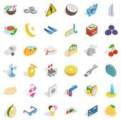 Crescent icons set Isometric style of 36 crescent vector icons for web isolated on white background