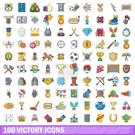 100 victory icons set, cartoon style
