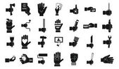 Hand object icon set simple style