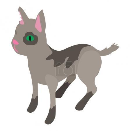 Street cat icon, isometric 3d style