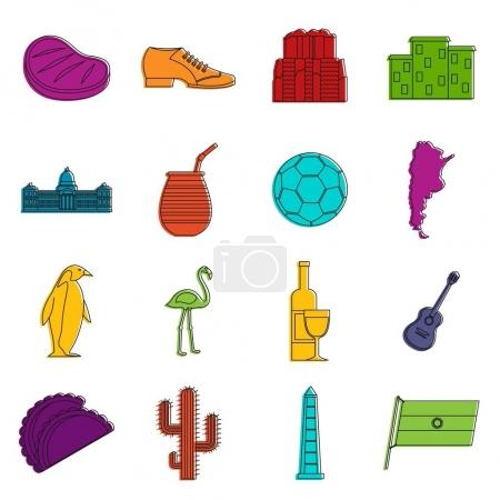 Illustration for Argentina travel items icons set. Doodle illustration of vector icons isolated on white background for any web design - Royalty Free Image