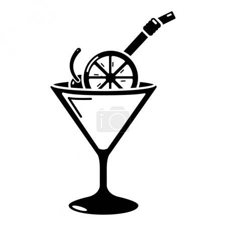 Cocktail icon, simple black style