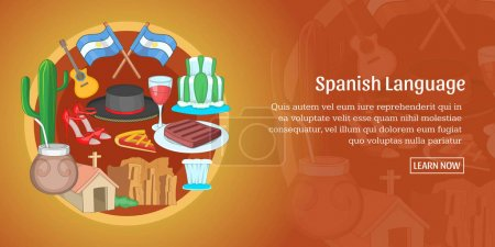 Illustration for Argentina banner horizontal concept. Cartoon illustration of Vietnam banner horizontal vector for web - Royalty Free Image