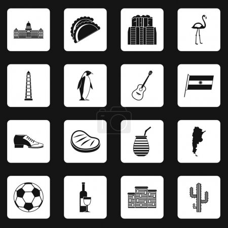 Illustration for Argentina travel items icons set in white squares on black background simple style vector illustration - Royalty Free Image