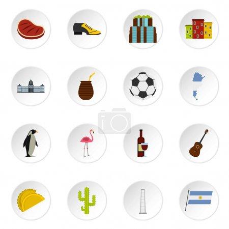 Illustration for Argentina travel items icons set in flat style isolated vector icons set illustration - Royalty Free Image