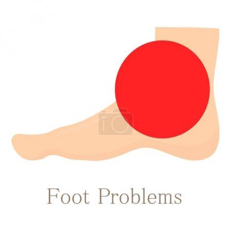 Foot problem icon, cartoon style