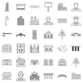 City council icons set outline style