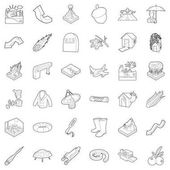 Air icons set outline style