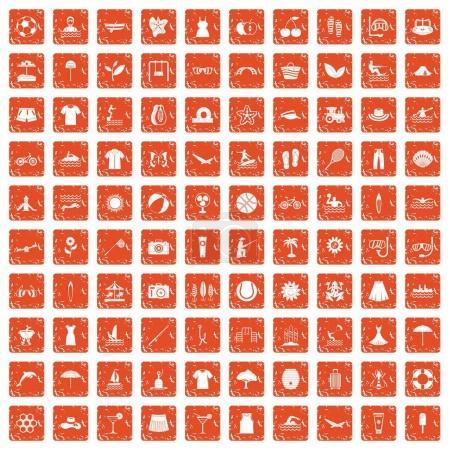 Illustration pour 100 icônes d'été dans un style grunge couleur orange isolé sur fond blanc illustration vectorielle - image libre de droit