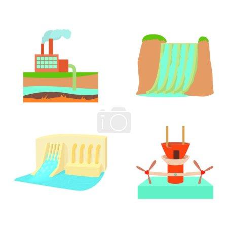 Hydropower icon set. Cartoon set of hydropower vec...
