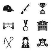 Equestrian icons set simple style