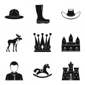 Horse racing icons set simple style