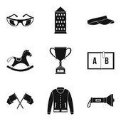 Equestrian sport icons set simple style