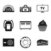 Saloon icons set simple style