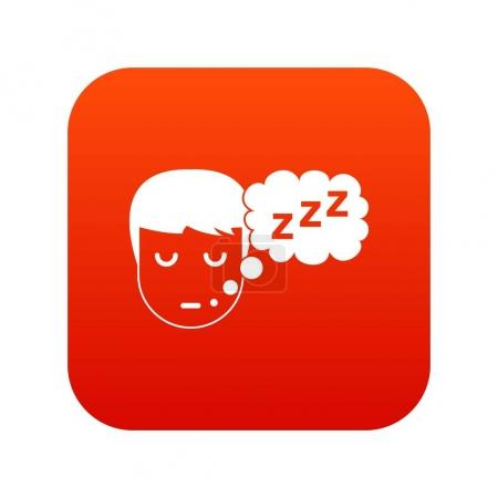 Boy head with speech bubble icon digital red