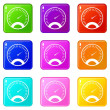Speedometer icons of 9 color set isolated vector i...