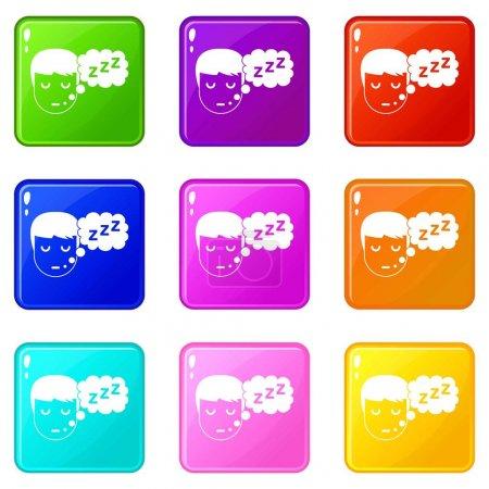 Boy head with speech bubble icons 9 set