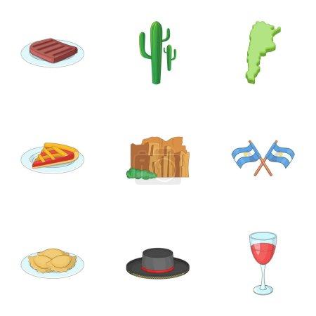 Illustration for Typical Argentina icons set. Cartoon set of 9 typical Argentina vector icons for web isolated on white background - Royalty Free Image