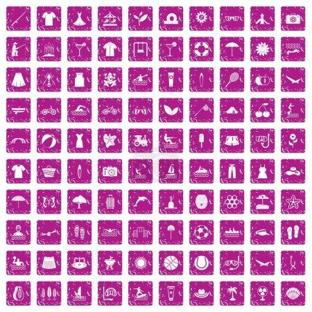 Illustration pour 100 icônes d'été dans un style grunge couleur rose isolé sur fond blanc illustration vectorielle - image libre de droit
