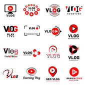 Vlog video channel logo icons set simple style