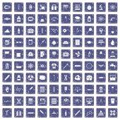 100 laboratory icons set grunge sapphire