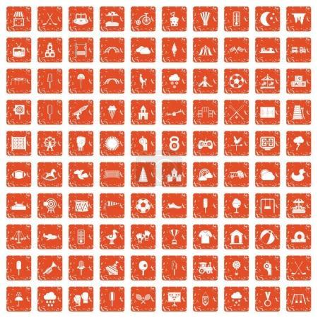 Illustration pour 100 icônes de terrain de jeu pour enfants dans un style grunge couleur orange isolé sur fond blanc illustration vectorielle - image libre de droit