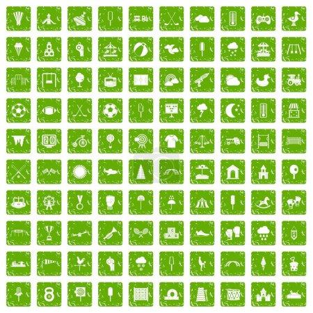 Illustration pour 100 icônes de terrain de jeu pour enfants dans un style grunge couleur verte isolé sur fond blanc illustration vectorielle - image libre de droit