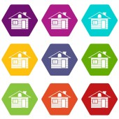 Wooden log house icon set color hexahedron
