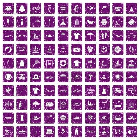 Illustration pour 100 icônes d'été dans un style grunge couleur pourpre isolé sur fond blanc illustration vectorielle - image libre de droit